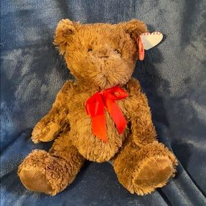 Brand new chocolate brown teddy with red bow
